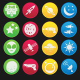 Space and Alien Flat Icon Royalty Free Stock Images