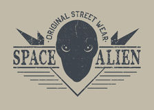 Space alien head. Label .Prints design for t-shirt.Street style label stock illustration