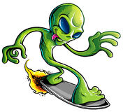 Space Alien Surfer Royalty Free Stock Images