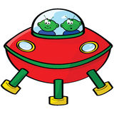 Space aliens. Cartoon illustration of a flying sauce with two green aliens Stock Photography