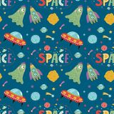 Space Aliens Cartoon Colorful Seamless Pattern stock illustration