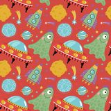 Space Aliens Cartoon Colorful Seamless Pattern. Space aliens funny cartoon seamless pattern. Cute one eye jelly creature, flying saucer, spaceship, stars Stock Image