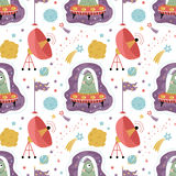 Space Aliens Cartoon Vector Seamless Pattern. Space aliens cartoon seamless pattern. Funny one eye jelly creature in flying saucer, parabolic antenna, moon Stock Image