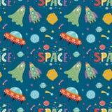 Space Aliens Cartoon Vector Seamless Pattern stock illustration