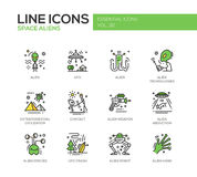Space Aliens - line design icons set. Space Aliens - modern vector line design icons and pictograms set. UFO, technologies, extraterrestial civilization, contact Stock Photography