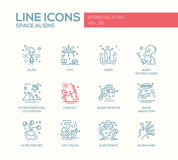 Space Aliens - line design icons set Royalty Free Stock Photo