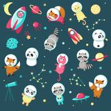 Space animal icon set vector illustration. Space icon set. Vector illustration of cute animals astronauts panda, raccoon, cat and fox in outer space, rockets Vector Illustration