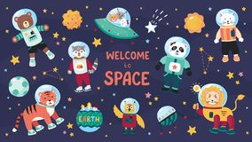 Space animals. Cute cartoon trendy baby animal characters in space suits, set of science kids in cosmos. Vector flat