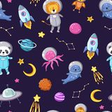 Space animals pattern. Cute baby animal astronauts flying kid pets cosmonauts funny spaceman boy seamless cosmos vector vector illustration
