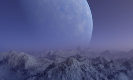 Space Art: Foggy Alien Planet Royalty Free Stock Image