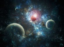 Space Art Nebula. Illustration of a deep-space nebula with planets Stock Image