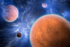 Space Art - Textured Planets. A Photoshop drawing of textured red planets and a blue nebula Stock Photos