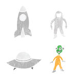 Space astronaut alien and spaceships Stock Images