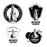 Space astronaut badges, emblems and logos vector set Stock Photography