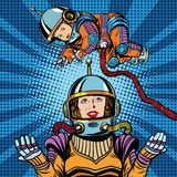 Space astronaut mother and newborn baby. Pop art retro vector. Mother day and international womens day. Childhood and motherhood stock illustration