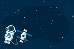 Space2-01. Astronaut and space station on open space background. Template for your text. Vector illustration in flat style Stock Photo