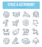 Space & Astronomy Doodle Icons. Collection. Astronaut, planets, solar system, spaceship, space station. Vector hand drawn illustrations for website and printing vector illustration