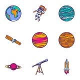 Space astronomy icon set, hand drawn style. Space astronomy icon set. Hand drawn set of 9 space astronomy vector icons for web design isolated on white stock illustration