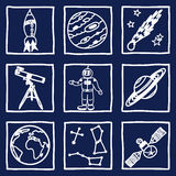 Space and astronomy icons. Illustration of space and astronomy icons - hand drawn pictures Royalty Free Stock Photo