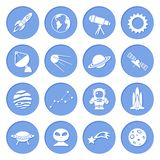 Space and Astronomy Icons. Space ship and astronomy icons set of rocket satellite earth alien isolated vector illustration Stock Photos