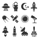 Space and astronomy vector icons. Rockets and satellites, planets and astronaut vector signs Stock Image