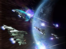 Space attack. Alien spacecrafts approaching a planet, at the time that they are the target of missile defence, but their magnetic fields protect them Stock Photos