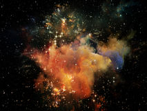 Space Backdrop. Universe Is Not Enough series. Composition of fractal elements, lights and textures suitable as a backdrop for the projects on fantasy, science Stock Photo