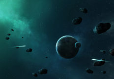 Space Background. Asteroids in space heading towards planet and moon Royalty Free Stock Photography