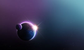 Space Background. With purple and blue planet and sun Stock Photo