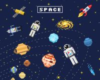 Space background, alien spaceman, robot rocket and satellite cubes solar system planets pixel art, digital vintage game. Style. Mercury, Venus, Earth, Mars stock illustration
