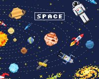 Space background, alien spaceman, robot rocket and satellite cubes solar system planets pixel art, digital vintage game Royalty Free Stock Photography