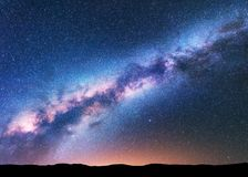 Space background with amazing Milky Way and stars Royalty Free Stock Images