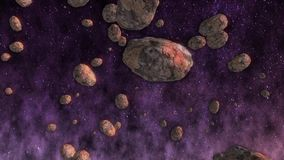 Space background. Asteroids in the space stock footage