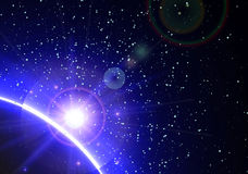 Space background with blue light from behind Royalty Free Stock Images