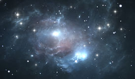 Space background with blue nebula and stars Stock Photo