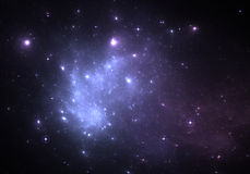 Space background with blue nebula and stars Stock Images