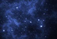Space background with blue nebula and stars. Illustration royalty free illustration
