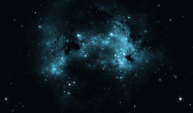 Space background with blue nebula and stars. Illustration stock illustration
