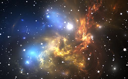 Space background with colorful nebula and stars Stock Images