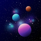 Space background with colorful planets and meteor Stock Photos