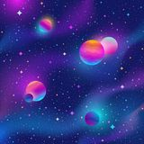 Space background with colorful stars and planets. Vector illustration Stock Images