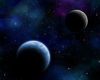 Space background. 3D space background with fictional planets in a night sky Stock Image