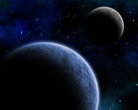 Space background. 3D space background with fictional planets in a night sky Royalty Free Stock Photography
