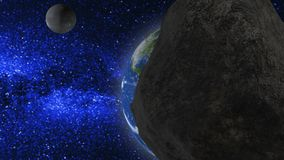 Retreating earth and the moon in the background of the stars. Flying asteroid nearby stock footage