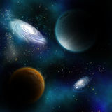 Space background. With fictional planets and galaxys Royalty Free Stock Photography