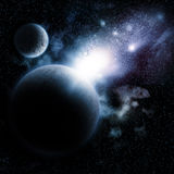 Space background with fictional planets. Space background with nebula and fictional planets Stock Image