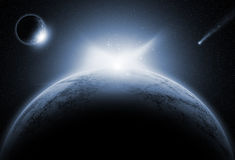 Space background with fictional planets. In night sky Stock Images