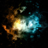 Space background with fire and ice effect Stock Photography