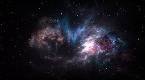 Space background with gas nebula and stars. Royalty Free Stock Image