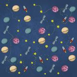 Space background illustration rocket earth and stars stock illustration